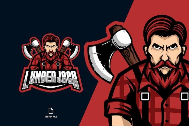 Lenhador com machado mascote esporte logo ilustração cartoon