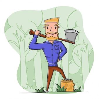 Lenhador com machado na floresta