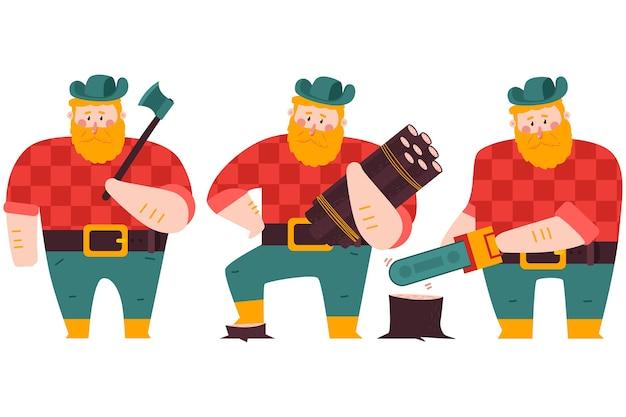 Lenhador com machado, toras de madeira e conjunto de personagens de desenhos animados de serra elétrica isolado em um fundo branco.