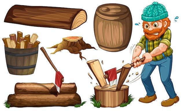 Lenhador cortando madeiras e outros artigos de madeira