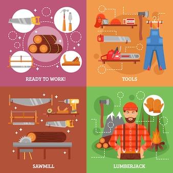 Lenhador e ferramentas para trabalhar madeira