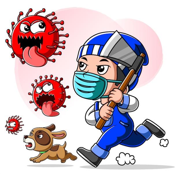 Lenhador, homem, desgastar, máscara, perseguir, coronavirus Vetor Premium