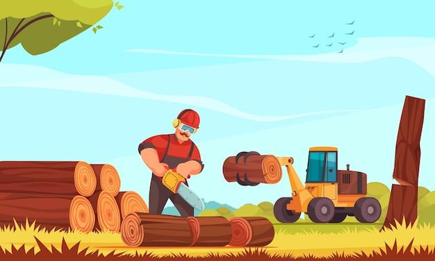 Lenhador trabalhando, serrando tronco de árvore com serra elétrica para corte de madeira