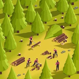 Lenhadores cortando madeira ilustração isométrica