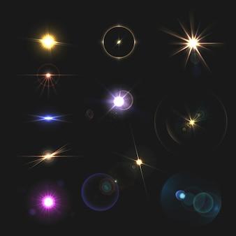 Lens flares and feixes realista conjunto colorido isolado