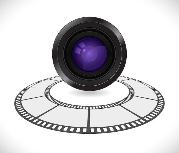 Lente da câmera em ícone redondo de tira de filme 3d