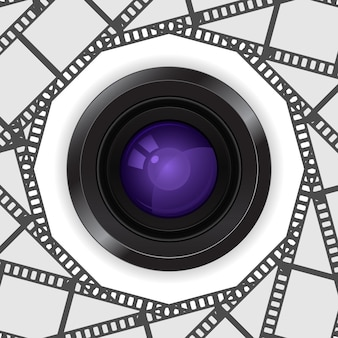 Lente da câmera fotográfica 3d no quadro da bobina de filme