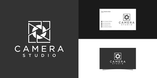 Lente de conceito de logotipo de câmera de estúdio, modelo de logotipo de sala quadrada e cartão de visita