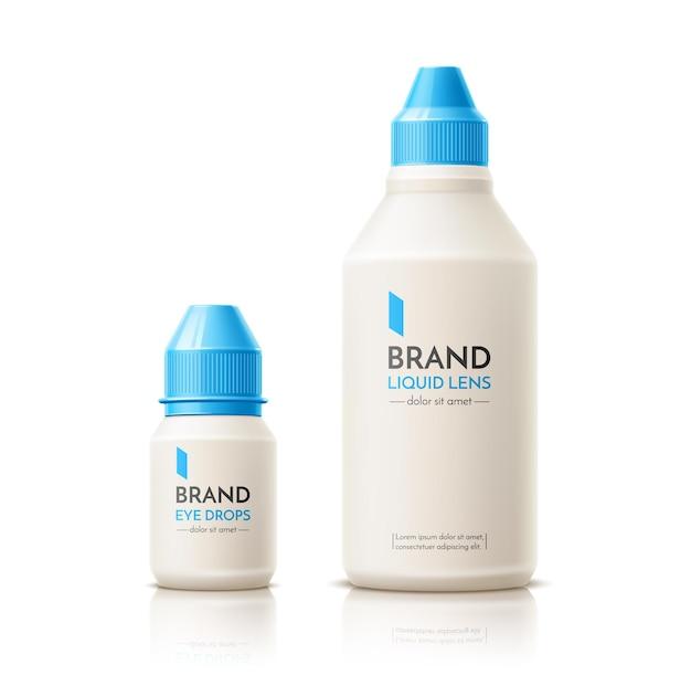 Lente de contato realista deixa cair maquete do frasco e do recipiente da solução. líquido de limpeza para lentes oculares. produto de higiene visual.