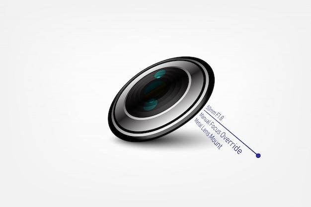 Lente de foto de câmera f1.8, ilustração vetorial