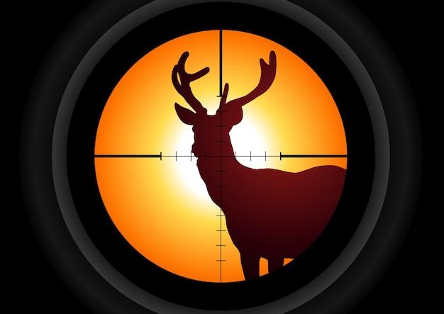 Lente de rifle apontando um cervo