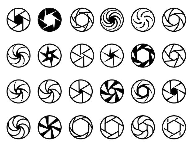 Lentes da câmera. foco zoom abstrato símbolos gráficos obturador ícone de abertura da câmera de filme.