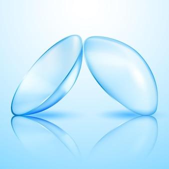 Lentes de contato translúcidas realistas em azul claro com sombras e reflexos