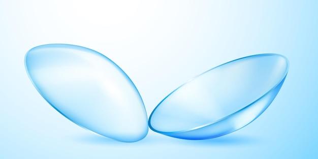 Lentes de contato translúcidas realistas em azul claro com sombras