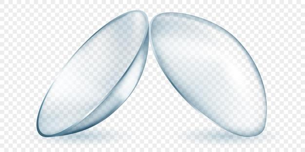 Lentes de contato translúcidas realistas em cor cinza, isoladas em fundo transparente