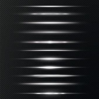 Lentes horizontais brancas brilham em fundo transparente
