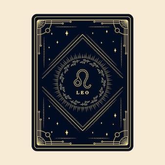 Leo zodiac assina cartões de horóscopo com moldura decorativa de cartão do zodíaco de estrelas da constelação