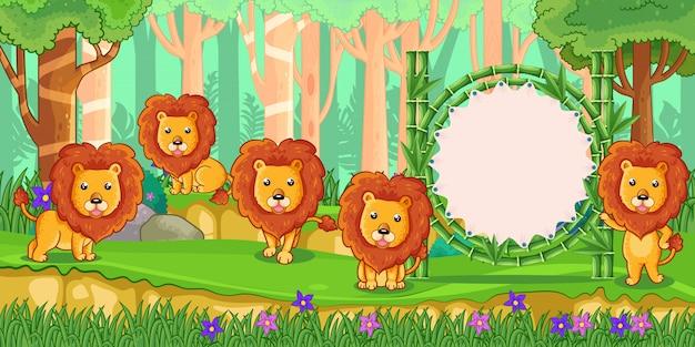 Leões com um sinal em branco de bambu na floresta