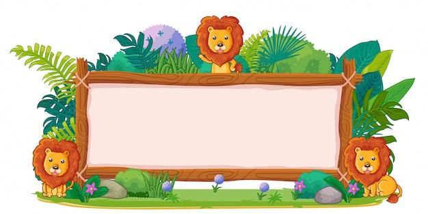 Leões com uma madeira de sinal em branco