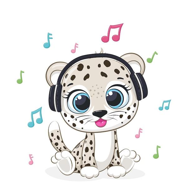 Leopardo bonito ouve música com fones de ouvido. ilustração em vetor de um desenho animado.