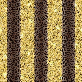 Leopardo e glitter fashion padrão listrado vertical sem costura