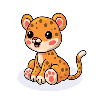 Leopardo fofo e feliz sentado