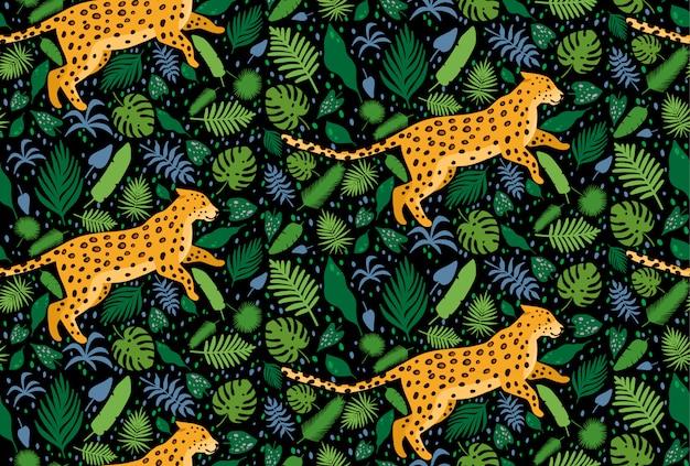 Leopardos cercados por folhas de palmeira tropical