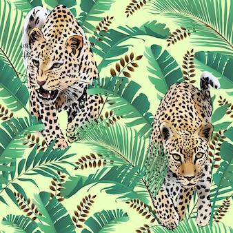 Leopards, folhas de palmeira, aguarela tropical na selva.