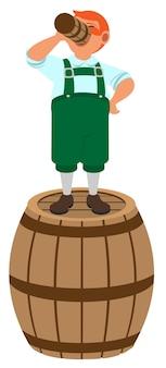 Leprechaun alemão de cabelos vermelhos fica em um barril de madeira e bebe cerveja. isolado na ilustração branca dos desenhos animados