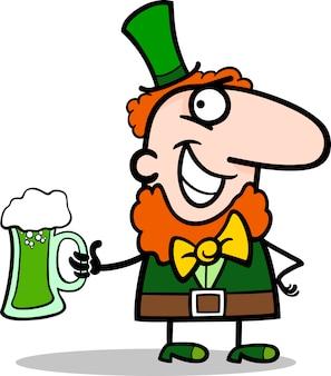 Leprechaun com cerveja ilustração dos desenhos animados