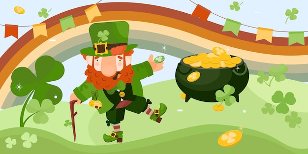 Leprechaun com colinas verdes, arco-íris, trevo e caldeirão com moedas