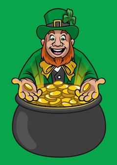 Leprechaun com pote de ouro