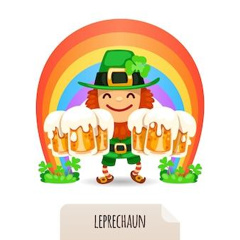 Leprechaun de sorte com uma cerveja na frente de um arco-íris