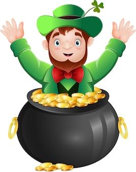 Leprechaun dentro de um pote de ouro