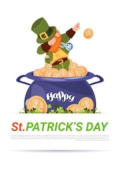 Leprechaun em modelo de moedas de ouro sobre happy st. patricks day