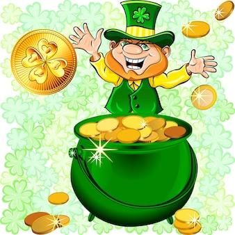 Leprechaun feliz do dia de são patrício com um pote cheio de moedas de ouro
