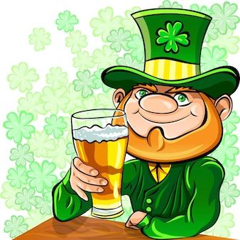 Leprechaun feliz do dia de são patrício do vetor bebendo cerveja