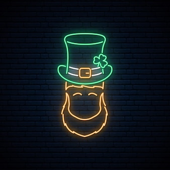 Leprechaun neon com chapéu verde patricks