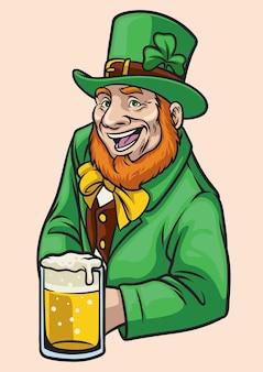 Leprechaun velho segura um copo de cerveja