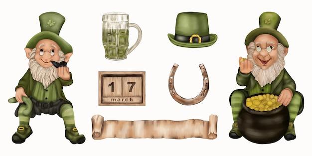 Leprechauns do dia de são patrício com cerveja, ferradura, chapéu