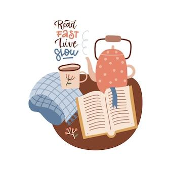 Ler rápido ao vivo lento livro amante manuscrito letras inscrição citação positiva caligrafia vetor i ...