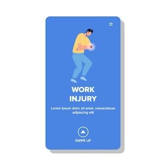 Lesão de trabalho obtendo vetor de empregado jovem. colega, trabalhador de empresa com problema de saúde. personagem com ilustração plana de desenho animado para trauma de mão