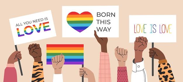 Lésbicas, bissexuais e transgêneros segurando cartazes, símbolos e bandeiras com arco-íris, parada do orgulho gay.