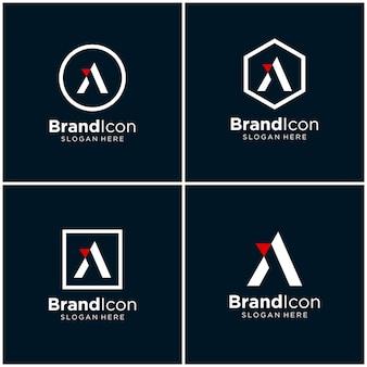 Letra a, aa design de logotipo