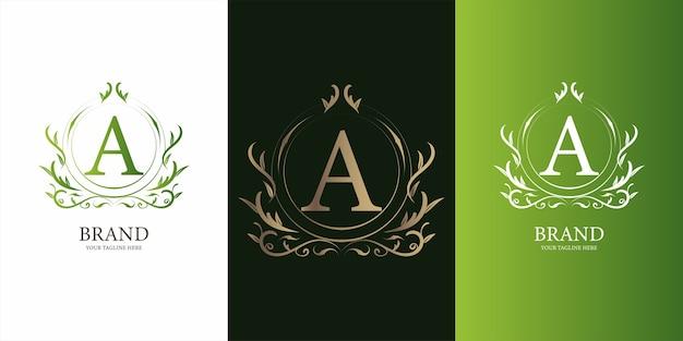 Letra a alfabeto inicial com modelo de logotipo dourado moldura floral ornamento de luxo.