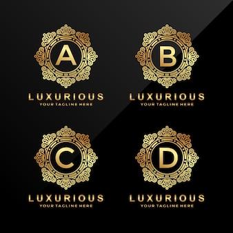 Letra a, b, c, d logótipo de luxo em ouro