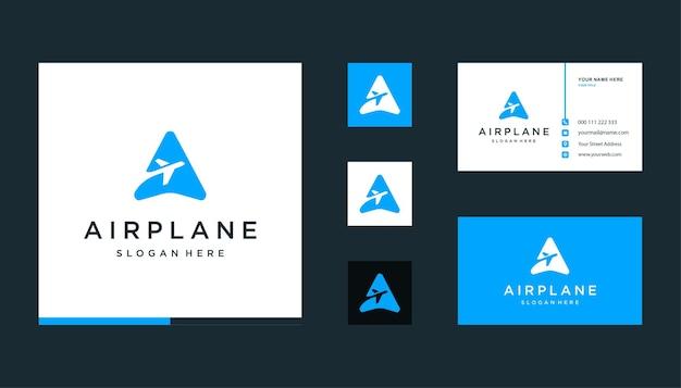 Letra a com design de logotipo de avião para férias, transporte, negócios de voos