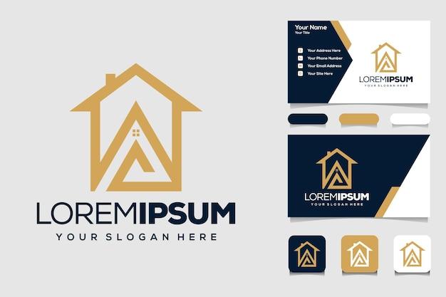 Letra a com design do logotipo da casa e cartão de visita