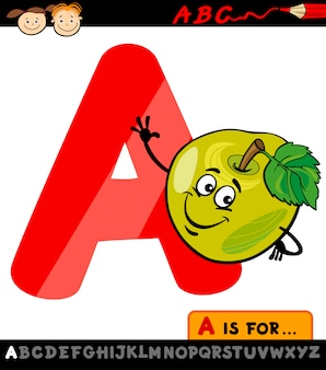 Letra a com ilustração de desenho animado de maçã