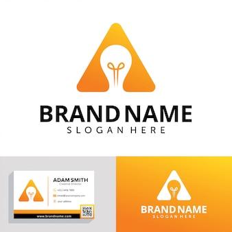 Letra a com modelo de design de logotipo de lâmpada